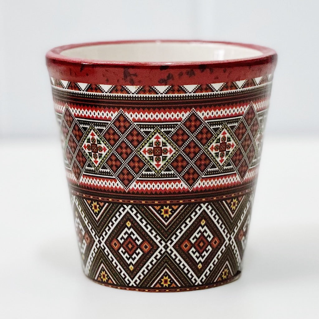 Our gorgeous Inca Aztec Pots in medium create a unique style with bold shapes and bright shades of blues, reds and browns. Drainage hole and plug perfect for indoor and outdoor use. Available in 4 styles Measures: 12x12x11cm. Ceramic.| Bliss Gifts & Homewares | Unit 8, 259 Princes Hwy Ulladulla | South Coast NSW | Online Retail Gift & Homeware Shopping | 0427795959, 44541523