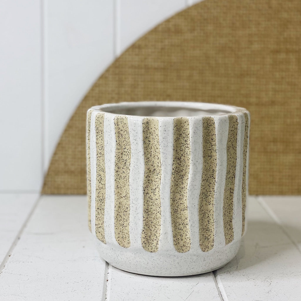 Give your vibrant and colourful potted plants and flowers and incredibly stylish home in our Ivory Pots. Our Ivory pots come in two different styles, stripe and square.| Bliss Gifts & Homewares | Unit 8, 259 Princes Hwy Ulladulla | South Coast NSW | Online Retail Gift & Homeware Shopping | 0427795959, 44541523