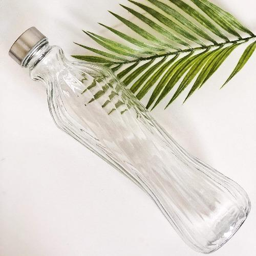 1 litre Glass Water Bottle with Textured Lines and stainless steel lid making it hygienic and easy to clean- Unit 8, 259 Princes Hwy Ulladulla - Shop Online & In store - 0427795959, 44541523 - Australia wide shipping | Bliss Gifts & Homewares