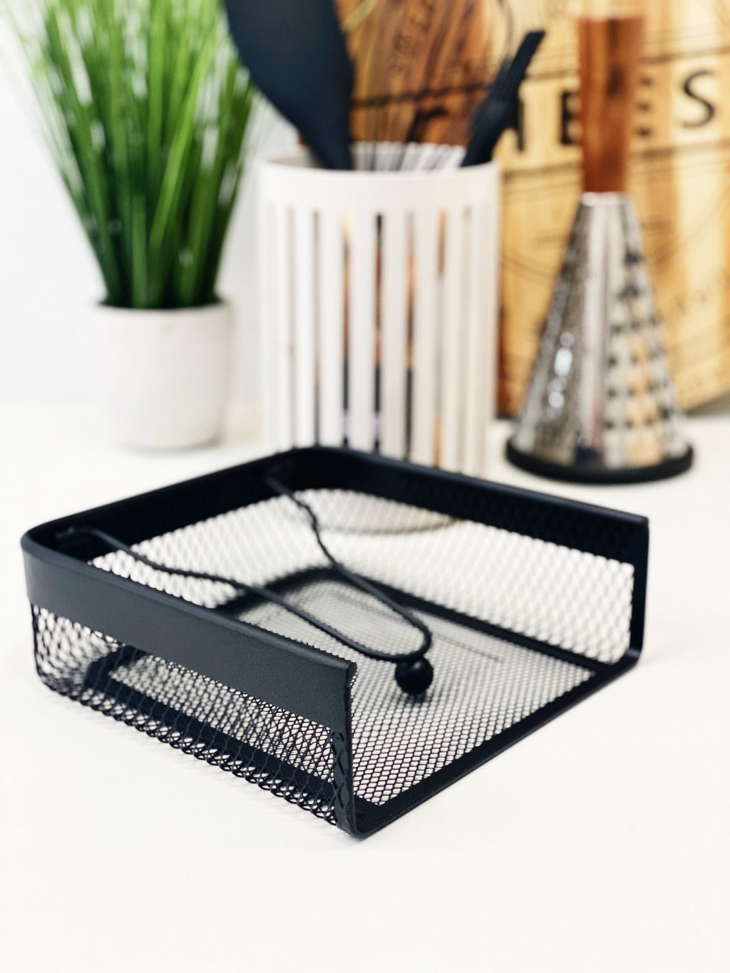 Classica | MESH Napkin Holder | Black | 18.5 x 16 x 7.5cm| Bliss Gifts & Homewares | Unit 8, 259 Princes Hwy Ulladulla | South Coast NSW | Online Retail Gift & Homeware Shopping | 0427795959, 44541523