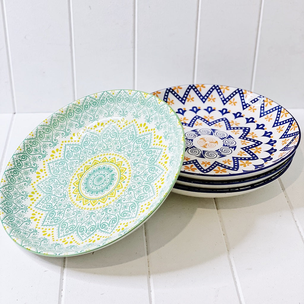 Our Moroccan Style Shallow Salad Bowl 25.5cm(W)x4.5cm(H), comes in a wide range of colours and patterns, great to mix and match to create your own unique Moroccan Style Dinnerware set. Commercial Grade quality. Patterns Picked at random. Shop online. AfterPay available. Australia wide Shipping. | Bliss Gifts & Homewares | Unit 8, 259 Princes Hwy Ulladulla | South Coast NSW | 0427795959, 44541523