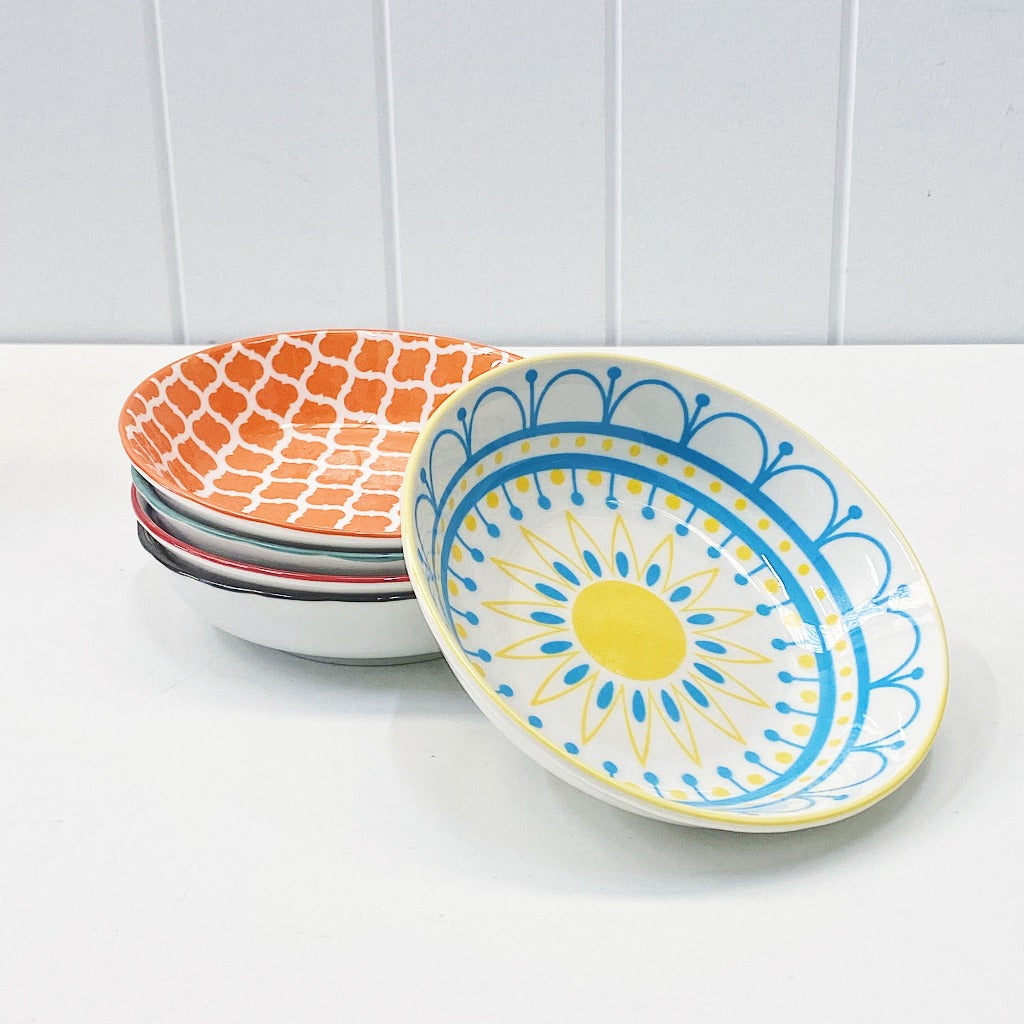 Moroccan Style Condiment Dish Large – perfect for dipping sauces and serving olives or nuts on your grazing platter - Moroccan Style Dinnerware - Mix & Match - 14cmW x 3cmH - wide range of colours and patterns - Commercial Grade quality - Patterns Picked at random | Bliss Gifts & Homewares - Unit 8, 259 Princes Hwy Ulladulla - Shop Online - 0427795959, 44541523 - Australia wide shipping – AfterPay Available
