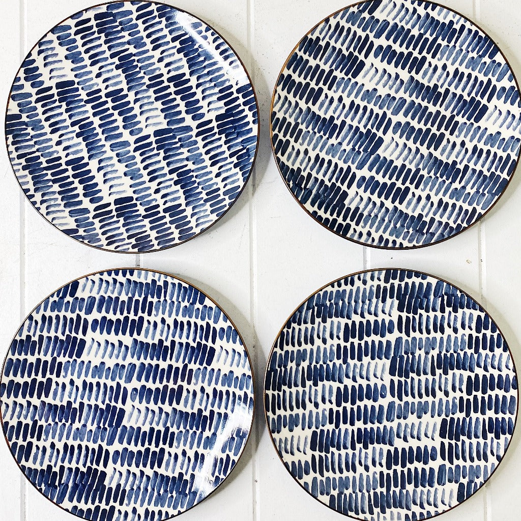 Moroccan Style Entree Plate Set of 4 - Navy Brush Stroke Pattern - 22cm Moroccan Style Entree Plate in Small is perfect for an entree, small meals, sandwich or a side dish - Plate sets come pre picked and as such patterns are already chosen |Bliss Gifts & Homewares - Unit 8, 259 Princes Hwy Ulladulla - Shop Online - 0427795959, 44541523 - Australia wide shipping