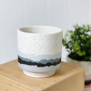 Our gorgeous Nash Pot - Large brings a whimsical style into your home or garden. Each pot feautres a unique speckle base design with strips of different colours down the bottom, perfect to help transform your garden or home with beautiful colours. Simply add your favourite plant. 4 deisgns. 12x12x12.7cm | Bliss Gifts & Homewares | Unit 8, 259 Princes Hwy Ulladulla | South Coast NSW | Online Retail Gift & Homeware Shopping | 0427795959, 44541523