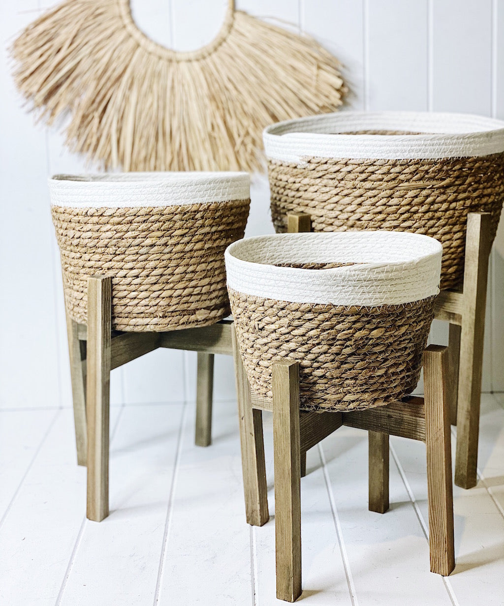 Create a relaxed and inviting feel to your home with our gorgeous Nirvana Planters. Made from natural fibres, with a woven rope design, and a white on natural finish | Bliss Gifts & Homewares | Unit 8, 259 Princes Hwy Ulladulla | South Coast NSW | Online Retail Gift & Homeware Shopping | 0427795959, 44541523