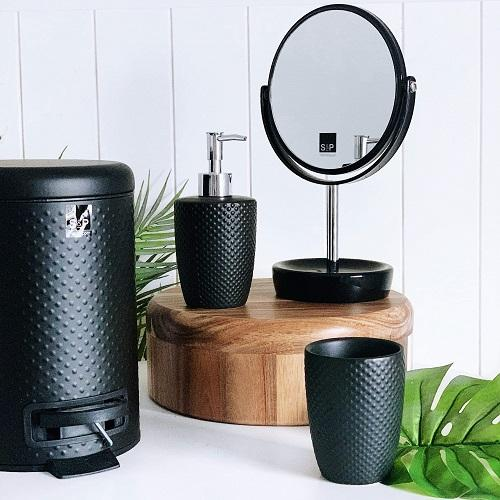 S&P | SPOT 3lt Pedal Bin | Bathroom Bin | Black | Black embossed spot pattern | Bliss Gifts & Homewares | Milton | Online & In-store | 0427795959 | Afterpay available