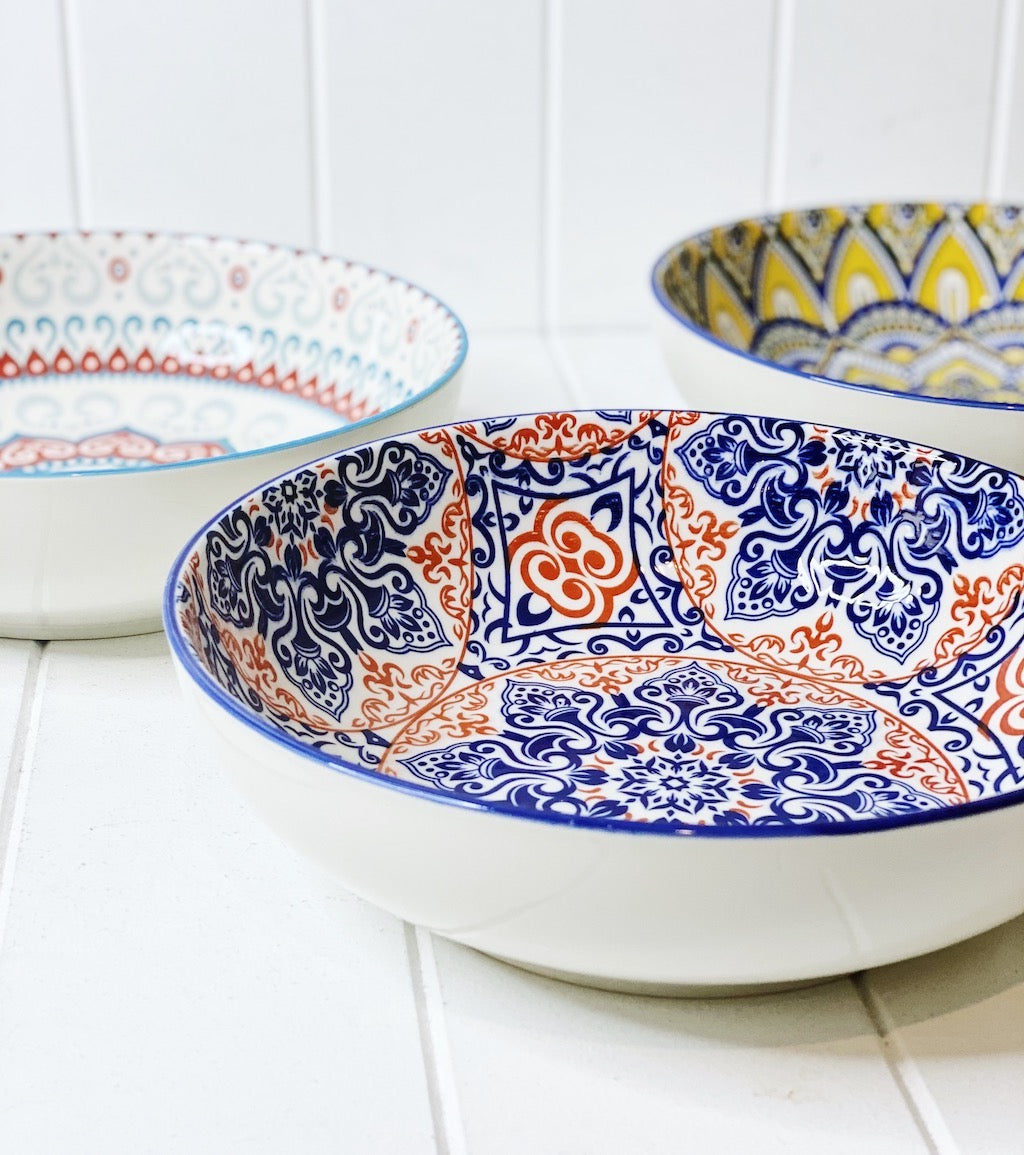 Our Moroccan Salad/Pasta Bowl 25cmWx7cmH, comes in a wide range of colours and patterns, great to mix and match to create your own unique Moroccan Dinnerware set. Commercial Grade quality. Patterns Picked at random. Shop online or in-store. AfterPay available. Australia wide Shipping. | Bliss Gifts & Homewares | Unit 8, 259 Princes Hwy Ulladulla | South Coast NSW | 0427795959, 44541523