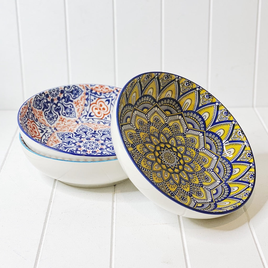 Our Moroccan Style Salad/Pasta Bowl 25cmWx7cmH, comes in a wide range of colours and patterns, great to mix and match to create your own unique Moroccan Style Dinnerware set - Commercial Grade quality - Patterns Picked at random - Shop online - AfterPay available. Australia wide Shipping. | Bliss Gifts & Homewares | Unit 8, 259 Princes Hwy Ulladulla | South Coast NSW | 0427795959, 44541523