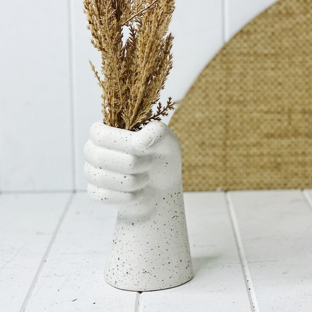 Our new Sculpture Arm Vase is 'hands down' the best vase for your contemporary home. With a cement speckle look, this on-trend vase can also be used as a pot! 10x9.5x16cm.| Bliss Gifts & Homewares | Unit 8, 259 Princes Hwy Ulladulla | South Coast NSW | Online Retail Gift & Homeware Shopping | 0427795959, 44541523