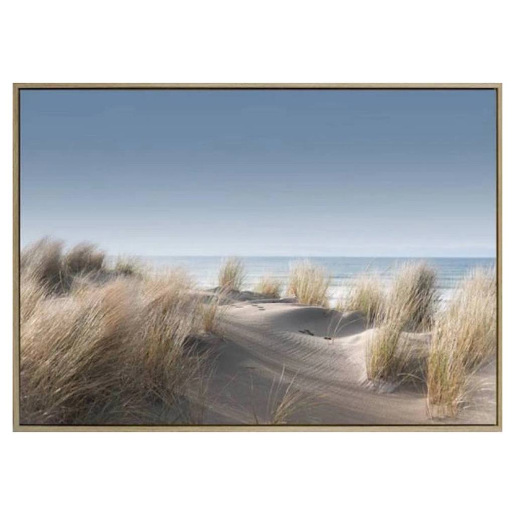 Seaside Retreat Framed Canvas - 140 x 100 cm - Feel the sand between your toes and the sea breeze in your hair with our delightful Seaside Retreat Canvas print - Featuring a pathway down to a serene shoreline lined with seagrass - shadow box floating frame effect for a stylish finish | Bliss Gifts & Homewares - Unit 8, 259 Princes Hwy Ulladulla - Online Retail Gift & Homeware Shopping - 0427795959, 44541523 - Australia wide shipping