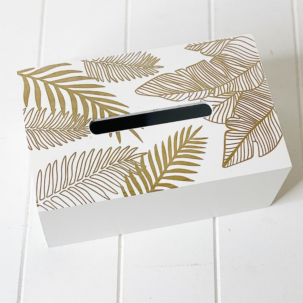 Our Tissue Box cover in White and Gold is beautiful enough to earn a permanent spot on your nightstand or desk. The long shape makes it great for accommodating both square and rectangular-shaped or tall and short tissue holders. Fill it napkins and tissues by themselves or along with its packaging.| Bliss Gifts & Homewares | Unit 8, 259 Princes Hwy Ulladulla | South Coast NSW | Online Retail Gift & Homeware Shopping | 0427795959, 44541523