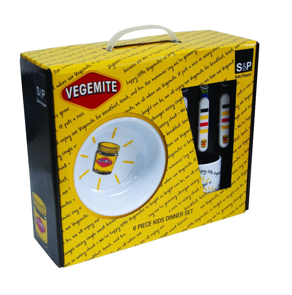 The VEGEMITE 6 piece Dinner Set featuring the iconic vegemite print, includes 1x 21.5cm plate, 1x 15.5cm bowl, 1x 220ml mug, 1x knife, 1x fork and 1x spoon. The Melamine dinner set is the perfect gift for kids (and big kids too!). The VEGEMITE Dinner Set is made from durable and lightweight melamine.| Bliss Gifts & Homewares | Unit 8, 259 Princes Hwy Ulladulla | South Coast NSW | Online Retail Gift & Homeware Shopping | 0427795959, 44541523