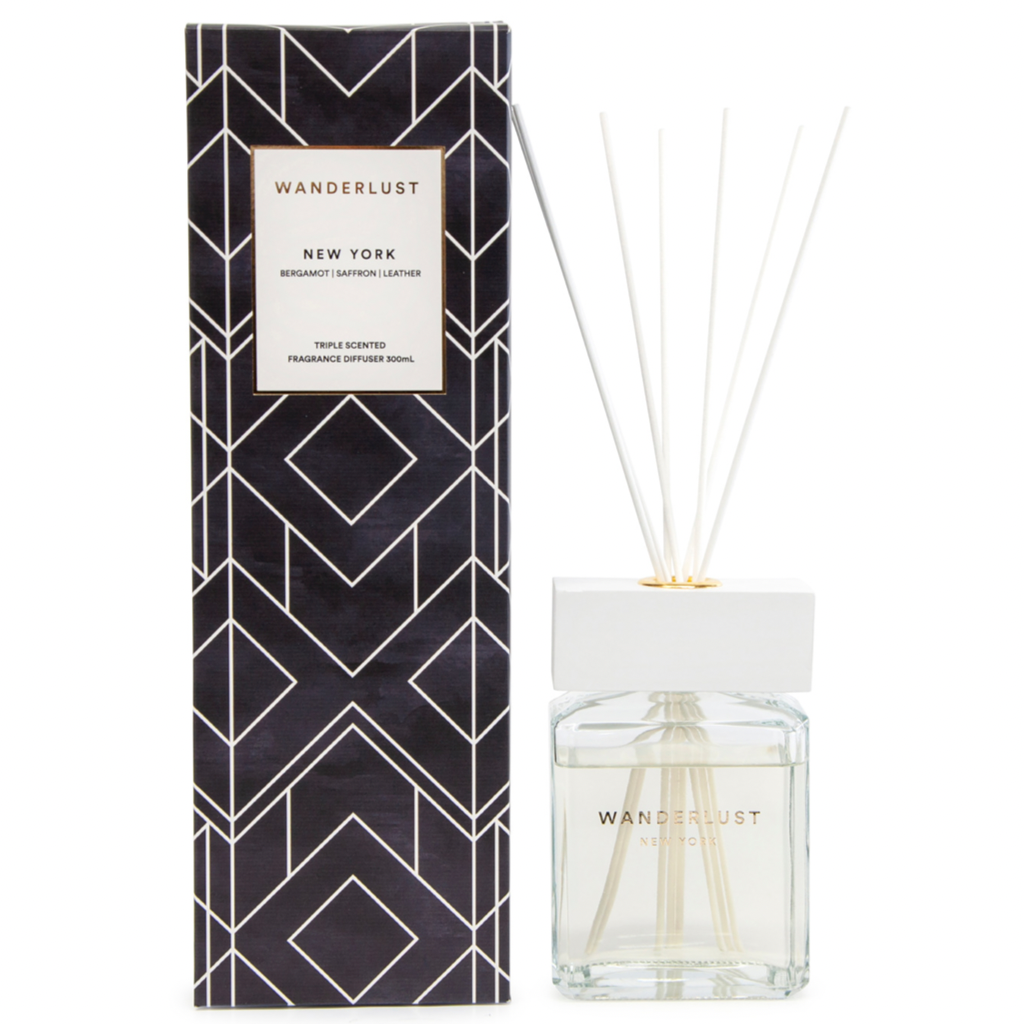 From Salt&Pepper''s WANDERLUST collection is this colourfully packaged 300ml NEW YORK diffuser and cotton stick set filled with a soul-stirring and woody blend of bergamot, saffron and leather. European-sourced essential oils that will infuse that New York City buzz into any space.| Bliss Gifts & Homewares | Unit 8, 259 Princes Hwy Ulladulla | South Coast NSW | Online Retail Gift & Homeware Shopping | 0427795959, 44541523