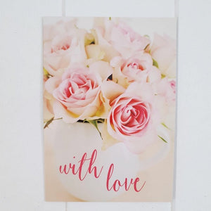 Say whatever your heart desires, 'With Love', with this gorgeous White and Pink Rose tall All Occasion Greeting Card. Card is blank inside awaiting a special handwritten message.  | Bliss Gifts & Homewares | Unit 8, 259 Princes Hwy Ulladulla | South Coast NSW | Online Retail Gift & Homeware Shopping | 0427795959, 44541523