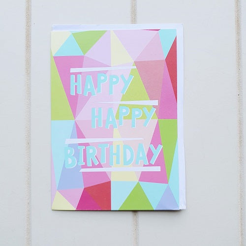 Happy Happy Birthday Abstract Birthday Greeting Card. Enjoy giving this tall colourful birthday card to someone incredible. Blank space inside awaiting a special handwritten message. | Bliss Gifts & Homewares | Unit 8, 259 Princes Hwy Ulladulla | South Coast NSW | Online Retail Gift & Homeware Shopping | 0427795959, 44541523