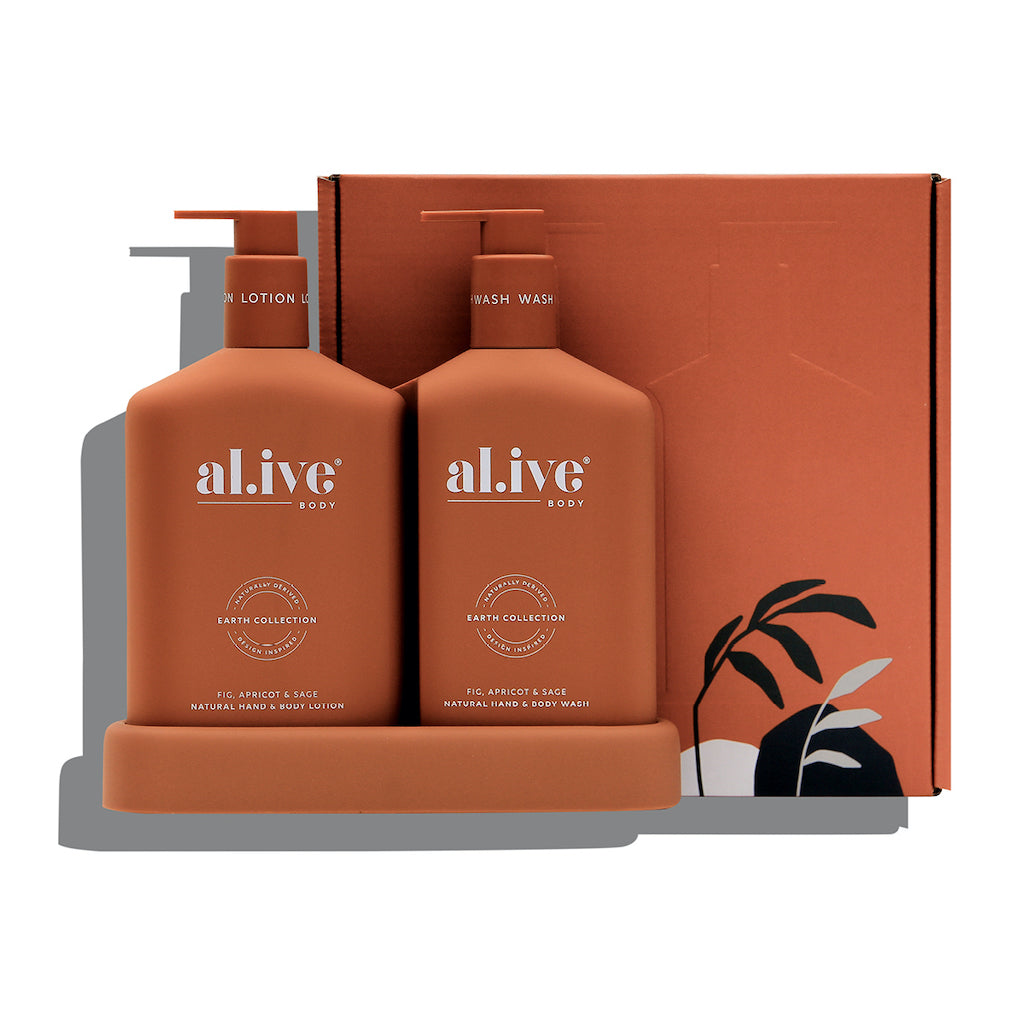 Hand & Body Wash/Lotion Duo - Fig, Apricot & Sage - includes a 500ml hand & body wash, 500ml hand & body lotion and a matching tray | al.ive body® - The al.ive body® range, combines product purity with designer aesthetics to stimulate your senses and shape your surroundings - Australian Made. | Bliss Gifts & Homewares - Unit 8, 259 Princes Hwy Ulladulla - Shop Online & In store - 0427795959, 44541523 - Australia wide shipping