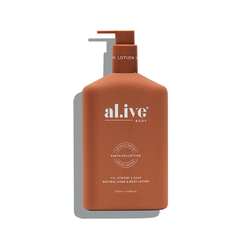 500ml Hand & Body Lotion - Fig, Apricot & Sage | al.ive body® - The al.ive body® range, combines product purity with designer aesthetics to stimulate your senses and shape your surroundings - Australian Made. | Bliss Gifts & Homewares - Unit 8, 259 Princes Hwy Ulladulla - Shop Online & In store - 0427795959, 44541523 - Australia wide shipping