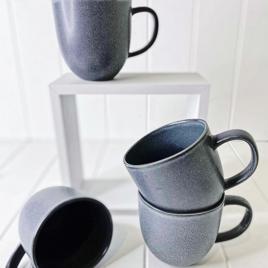 For a dramatic twist on your traditional dinnerware, look to this four-piece ARCH mug set by Salt&Pepper. With a focus on angular shapes and reactive glazing, each 380ml stoneware mug enjoys an earthy blue hue. | Bliss Gifts & Homewares | Unit 8, 259 Princes Hwy Ulladulla | South Coast NSW | Online Retail Gift & Homeware Shopping | 0427795959, 44541523