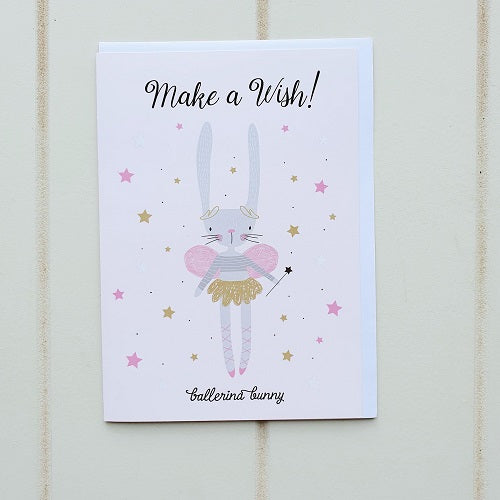 Make a wish Bunny Birthday Greeting Card. Give this dancing ballerina bunny to the little ballerina in your life! perfect for the tiny performer in the family. | Bliss Gifts & Homewares | Unit 8, 259 Princes Hwy Ulladulla | South Coast NSW | Online Retail Gift & Homeware Shopping | 0427795959, 44541523