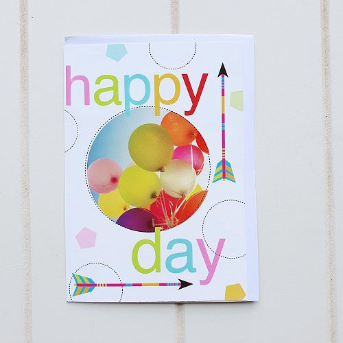 "Happy Birthday Arrows + Balloons Birthday Greeting Card. Enjoy this Happy birthday card for all ages, Card says ""Happy Day"" on the front. 
