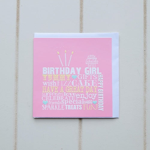 Pink Square Birthday Girl Greeting Card. Celebrate that special birthday girl by giving her this fun birthday card that commemorates all of her best qualities. Don't forget to write a special personal message. | Bliss Gifts & Homewares | Unit 8, 259 Princes Hwy Ulladulla | South Coast NSW | Online Retail Gift & Homeware Shopping | 0427795959, 44541523