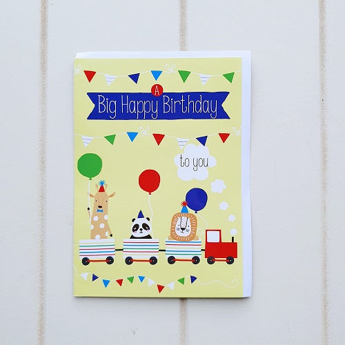 "Big Happy Animal Train Birthday Greeting Card. Says on the front, ""BIG HAPPY BIRTHDAY TO YOU""! Choo-Choo-Choose wisely who is deserving of this fun birthday card.  