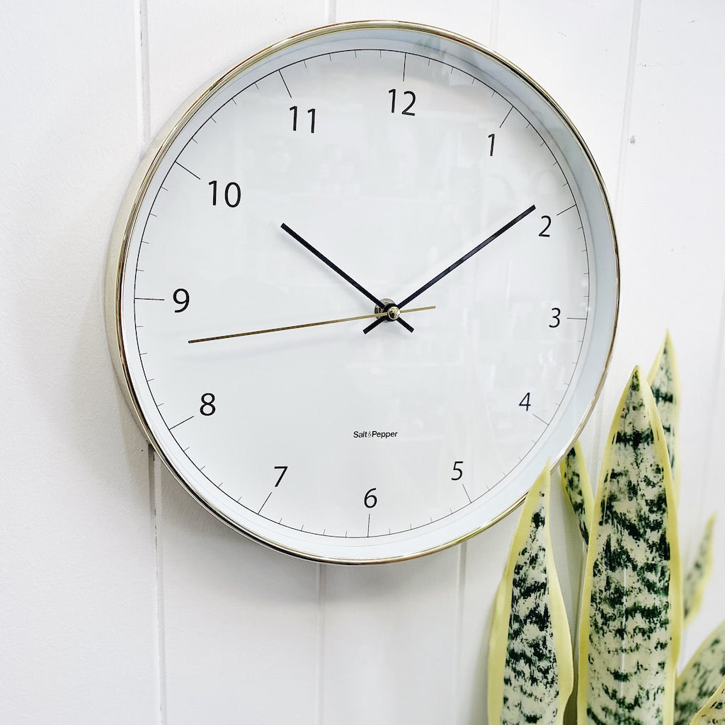 Stay ahead of time and style any wall space with this classic 31cm BLAIR wall clock from Salt&Pepper's MOOD collection. White face, gold frame. Easy-to-read numbers and dials. Silent sweep movement. Shop online or instore. AfterPay available. Australia wide Shipping. | Bliss Gifts & Homewares | Unit 8, 259 Princes Hwy Ulladulla | South Coast NSW | 0427795959, 44541523