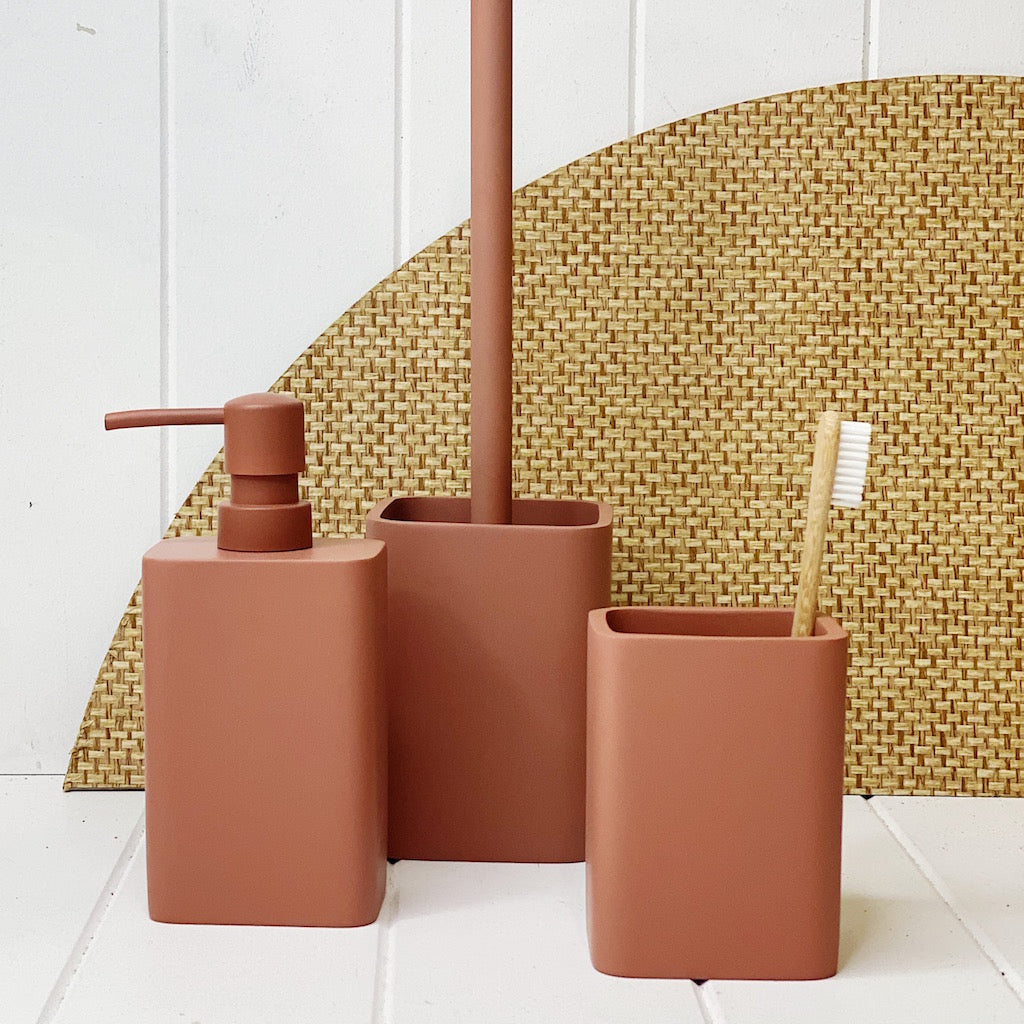 Keep your bathroom tidy and organised with Salt&Pepper''s COPENHAGAN tumbler in clay from the SUDS collection. Made of durable resin; Matte colour finish; modern sleek design.| Bliss Gifts & Homewares | Unit 8, 259 Princes Hwy Ulladulla | South Coast NSW | Online Retail Gift & Homeware Shopping | 0427795959, 44541523