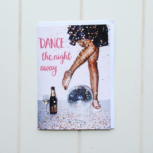 "Happy Birthday, Disco Greeting Card. Dance the night away disco style with this dazzling birthday card. Inside the card reads ""Happy Birthday to you!"". Perfect for when you're attending a birthday party ready to kick your feet up and paint the town red! 