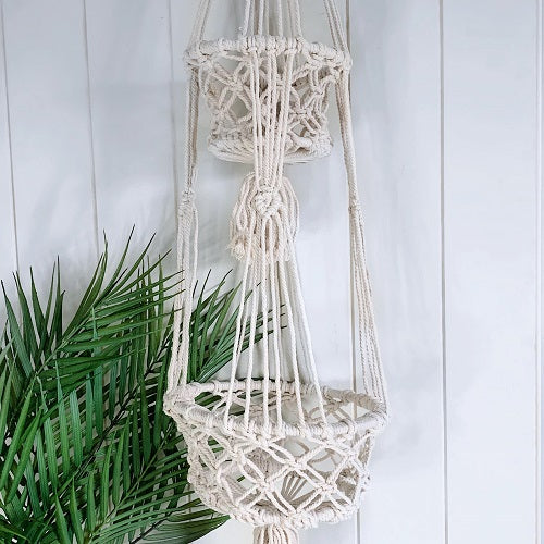Create a vertical garden in every room of the house with our Cream Macrame Double Pot Holder. Perfect for introducing plants into small spaces & layering your favourite plants for a dramatic feature. 106cm. | Bliss Gifts & Homewares | Milton | Online | 0427795959 | Afterpay available