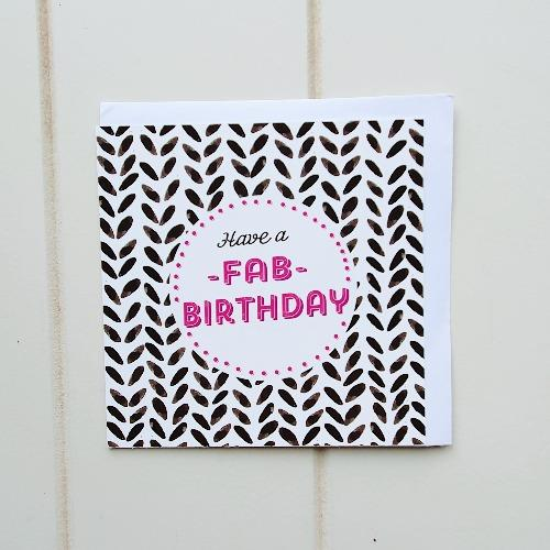 "Have a Fab Birthday Black and pink Greeting Card. Our pink and black Fabulous square birthday card is awaiting your handwritten note of love and appreciation towards that B'day Person! Card has the words ""Happy Birthday"" inside the card. 