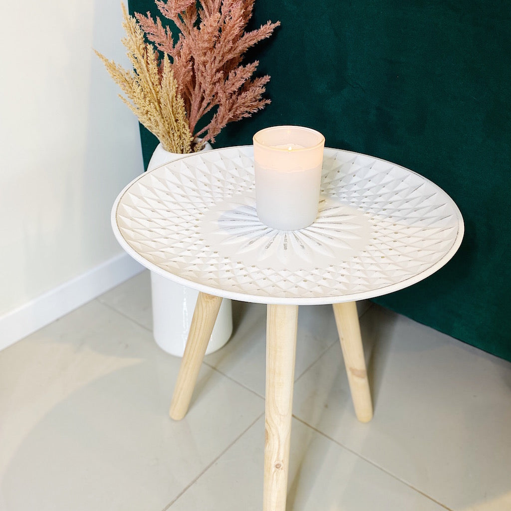 Add some Bohemian style to your home with our Flora Table - White. Perfect as a bedside table, coffee table or as corner decor table.The gorgeous table will go with any decor. Measures: 40cm x 40cm Gorgeous dotted texture.| Bliss Gifts & Homewares | Unit 8, 259 Princes Hwy Ulladulla | South Coast NSW | Online Retail Gift & Homeware Shopping | 0427795959, 44541523