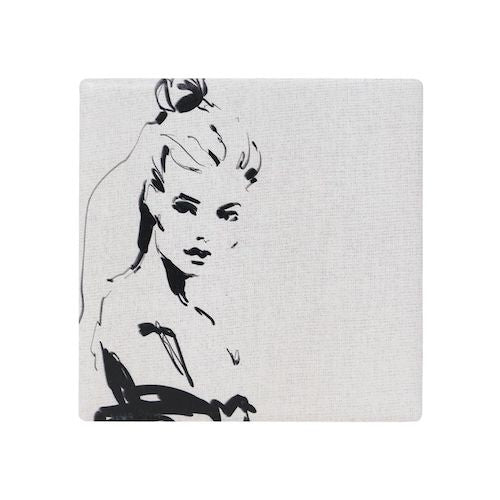 SPLOSH | French ladyCeramic Coaster | 10.8x10.8cm | Ceramic with cork backing | French lady | Bliss Gifts & Homewares | Milton | Online & In-store | 0427795959 | Afterpay available