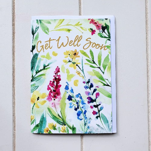 Send a message of Support and Well Wishes to a friend or loved one with our Get Well Soon Watercolour Greeting Card card. If they are feeling Unwell a handwritten card can go a long way in lifting their spirits. Blank on the inside perfect to write a handwritten message | Bliss Gifts & Homewares | Unit 8, 259 Princes Hwy Ulladulla | South Coast NSW | Online Retail Gift & Homeware Shopping | 0427795959, 44541523