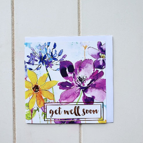 Send a message of Support and Well Wishes to a friend or loved one with our Get Well Soon Flower Greeting Card card. Features 'Get Well Soon' on the front surrounded by beautiful Bright coloured flowers, and blank on the inside | Bliss Gifts & Homewares | Unit 8, 259 Princes Hwy Ulladulla | South Coast NSW | Online Retail Gift & Homeware Shopping | 0427795959, 44541523