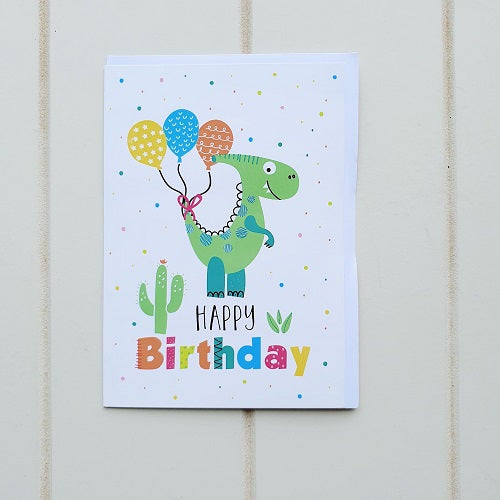 Kid's Green Dinosaur Birthday Greeting Card. Give this awesome Dinosaur card to some cool cucumber on their big day! | Bliss Gifts & Homewares | Unit 8, 259 Princes Hwy Ulladulla | South Coast NSW | Online Retail Gift & Homeware Shopping | 0427795959, 44541523