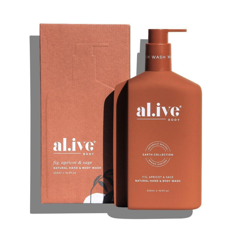 500ml Hand & Body Wash - Fig, Apricot & Sage | al.ive body® - The al.ive body® range, combines product purity with designer aesthetics to stimulate your senses and shape your surroundings - Australian Made. | Bliss Gifts & Homewares - Unit 8, 259 Princes Hwy Ulladulla - Shop Online & In store - 0427795959, 44541523 - Australia wide shipping