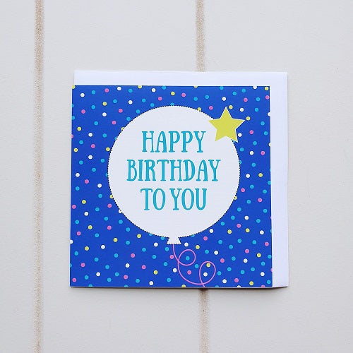 "Happy Birthday Dark Blue Greeting Card. A Dark Blue background with a white Balloon that says ""Happy Birthday To You""! 