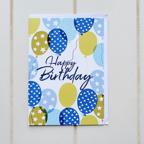 Happy Birthday Gold Blue Balloon Greeting Card. Say Happy Birthday with this colourful and vibrant birthday card, perfect for him or her, little him or little her. | Bliss Gifts & Homewares | Unit 8, 259 Princes Hwy Ulladulla | South Coast NSW | Online Retail Gift & Homeware Shopping | 0427795959, 44541523