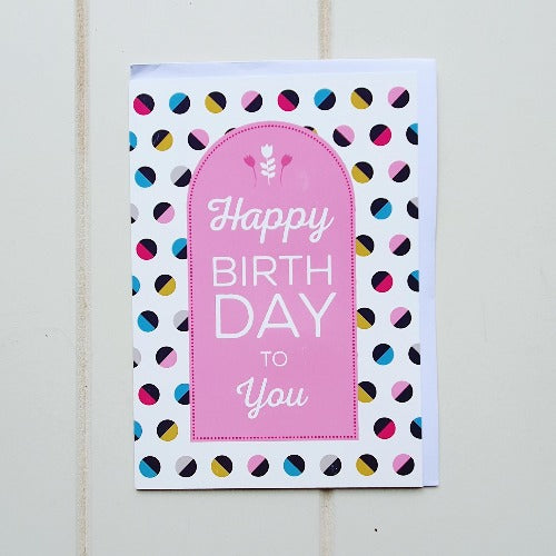 "Happy Birthday Pink Doorway Greeting Card. Enjoy giving this tall unique colourful birthday card. Inside the card reads, ""Hope your day is Perfect"". 