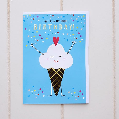 Happy Ice-cream Birthday Greeting Card. I Scream, you scream we all scream for this energetic little ice cream birthday card. Perfect for that birthday boy or girl who just can't resist their sweet tooth. | Bliss Gifts & Homewares | Unit 8, 259 Princes Hwy Ulladulla | South Coast NSW | Online Retail Gift & Homeware Shopping | 0427795959, 44541523