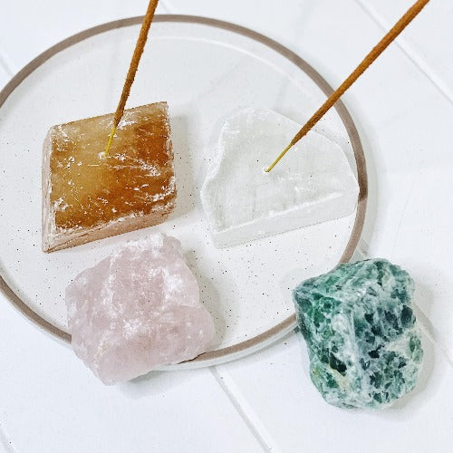 These beautiful Raw Crystals Incense Holders make the ultimate companion for your healing incense. Rose Quartz, Honey Calcite, Green Adventurine & Clear Quartz.| Bliss Gifts & Homewares | Unit 8, 259 Princes Hwy Ulladulla | South Coast NSW | Online Retail Gift & Homeware Shopping | 0427795959, 44541523