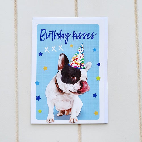 Birthday Kisses French Bulldog Birthday Greeting Card. Give those sloppy wet doggy kisses to the dog lover for their birthday, how could they resist this adorable, quirky little birthday card. | Bliss Gifts & Homewares | Unit 8, 259 Princes Hwy Ulladulla | South Coast NSW | Online Retail Gift & Homeware Shopping | 0427795959, 44541523