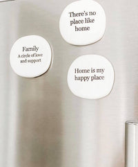 "Make the journey of life even sweeter with our ""Family"" stamped ceramic magnet from the Life Magnet range. Size: 5 x 5 x 0.5cm Details: Uniquely shaped ceramic magnet with unglazed verse.