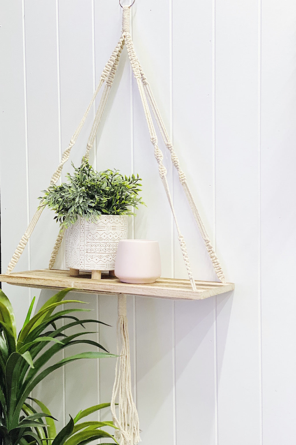 Add some Boho style to your home with our stylish and practical Macrame Wall Shelf. The four strong macrame ropes are positioned for perfect balance, meaning you can hang it flush on a wall or suspended from a ceiling. | Bliss Gifts & Homewares | Unit 8, 259 Princes Hwy Ulladulla | South Coast NSW | Online Retail Gift & Homeware Shopping | 0427795959, 44541523