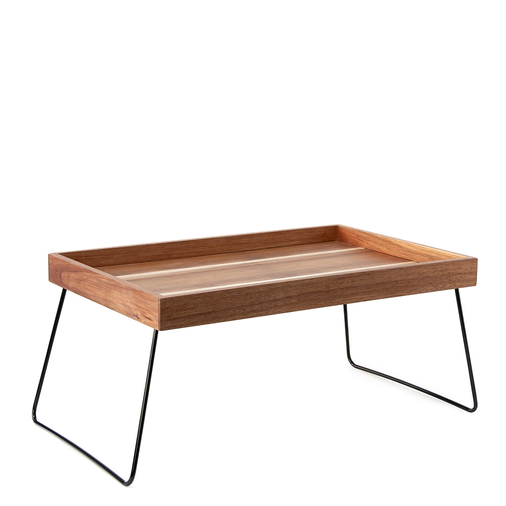 MAID Rectangle Breakfast Tray | Acacia Wood | features stable iron legs that fold for easy storage | 50x32cm. | Salt&Pepper |Bliss Gifts & Homewares - Unit 8, 259 Princes Hwy Ulladulla - Shop Online & In store - 0427795959, 44541523 - Australia wide shipping
