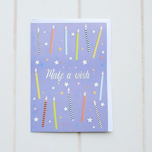 "Make a Wish Birthday Greeting Card. Simple yet elegant Kid's Birthday Greeting card that says on the front cover, ""Make a wish"". Perfect for all ages. 