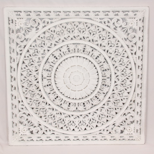Mandala Design Lattice Wall Art - Boho/Coastal Wall Hanging - Features neutral tones and hand carved design - 79x79cm - Timber with white wash finish - Measures Approx: 85cm wide x 127cm tall |Bliss Gifts & Homewares - Unit 8, 259 Princes Hwy Ulladulla - Shop Online & In store - 0427795959, 44541523 - Australia wide shipping