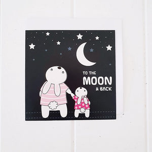 "Moon Bunnies All Occasion Greeting Card. Adorable square card that says on the front cover, ""To the moon & Back"". Card is blank inside. 