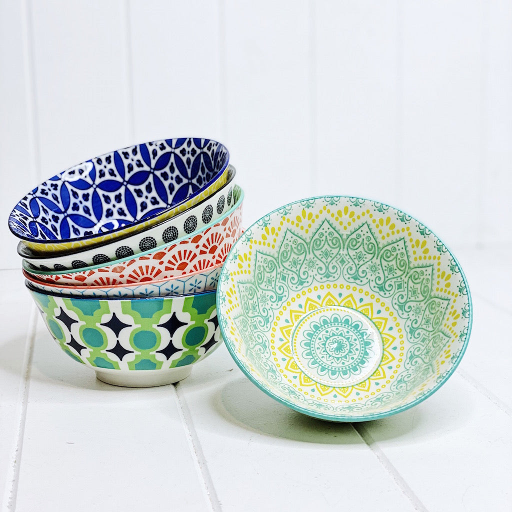 Moroccan bowl Medium - Moroccan Dinnerware - Mix & Match - 15.5cmW x 6cmH - wide range of colours and patterns - mix and match - Commercial Grade quality - Patterns Picked at random |Bliss Gifts & Homewares - Unit 8, 259 Princes Hwy Ulladulla - Shop Online & In store - 0427795959, 44541523 - Australia wide shipping